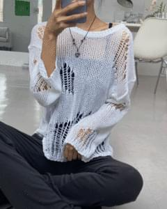 Crack Damage Loose Net Knitwear