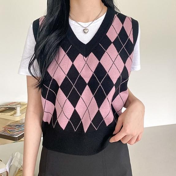 Pure Argyle Knitwear Vest (Delayed delivery)