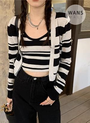st5543 Ylang Stripe Sleeveless + Cardigan Set
