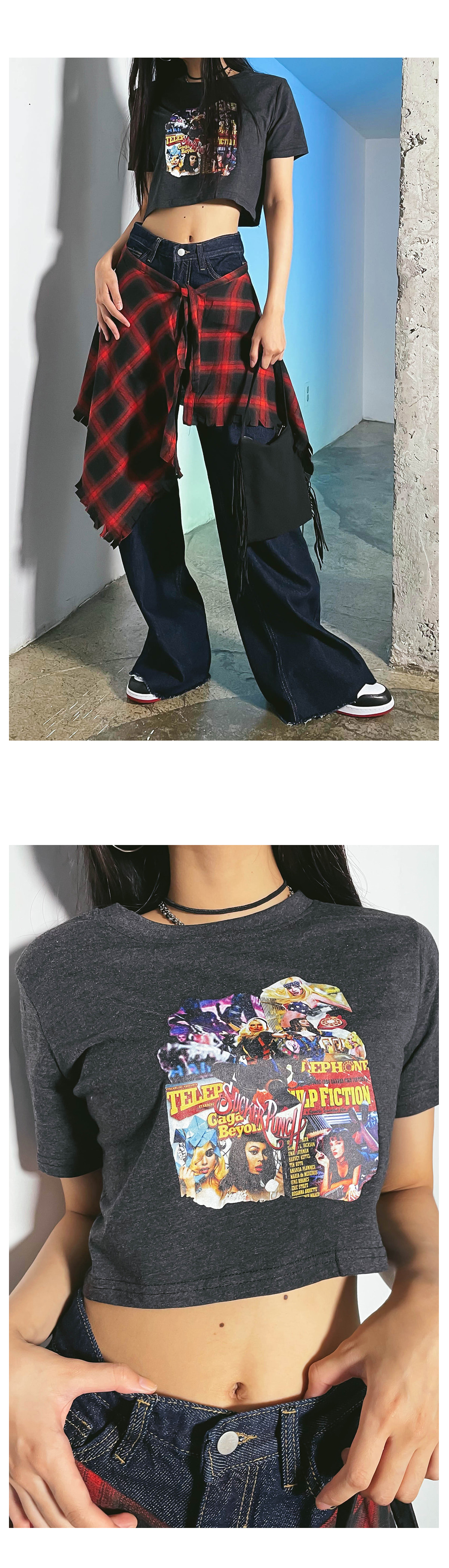 printed by cropped t-shirt