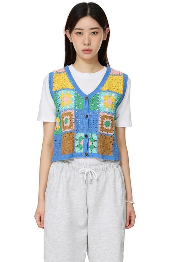 crochet color vest