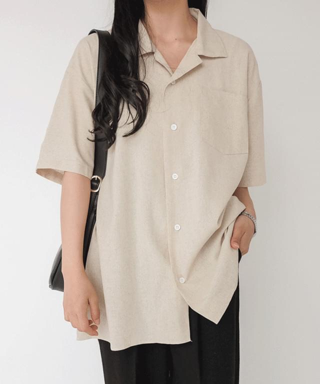 Big Size 55-99 Grain Linen Over Fit Short Sleeve Shirt