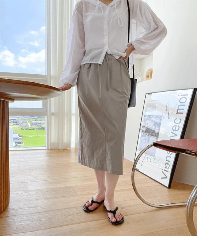 Big Size 26-32 Inch Timing Shirring Long Skirt