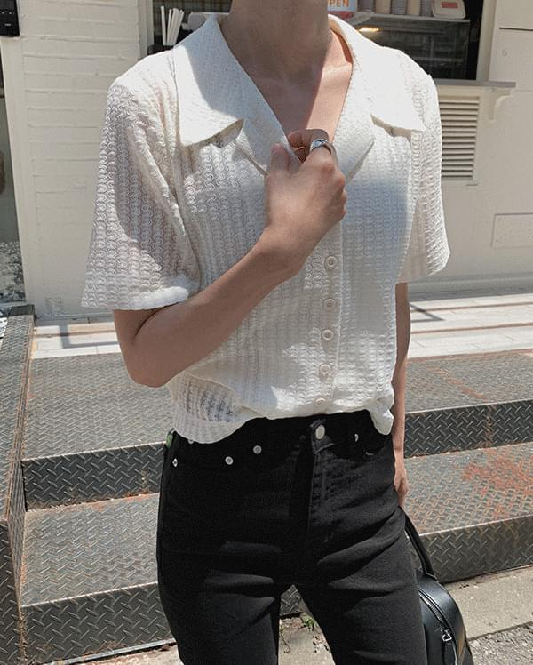 pio collar cardigan blouse