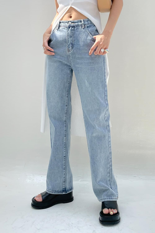 Natural washing wide denim Pants