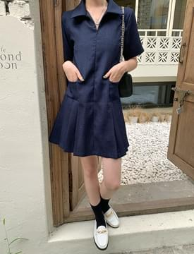 pleated zip mini Dress