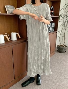 Vera Wrinkle Round Long Dress