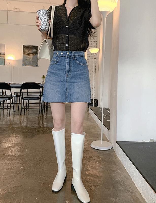 Norm Button Denim Skirt Pants