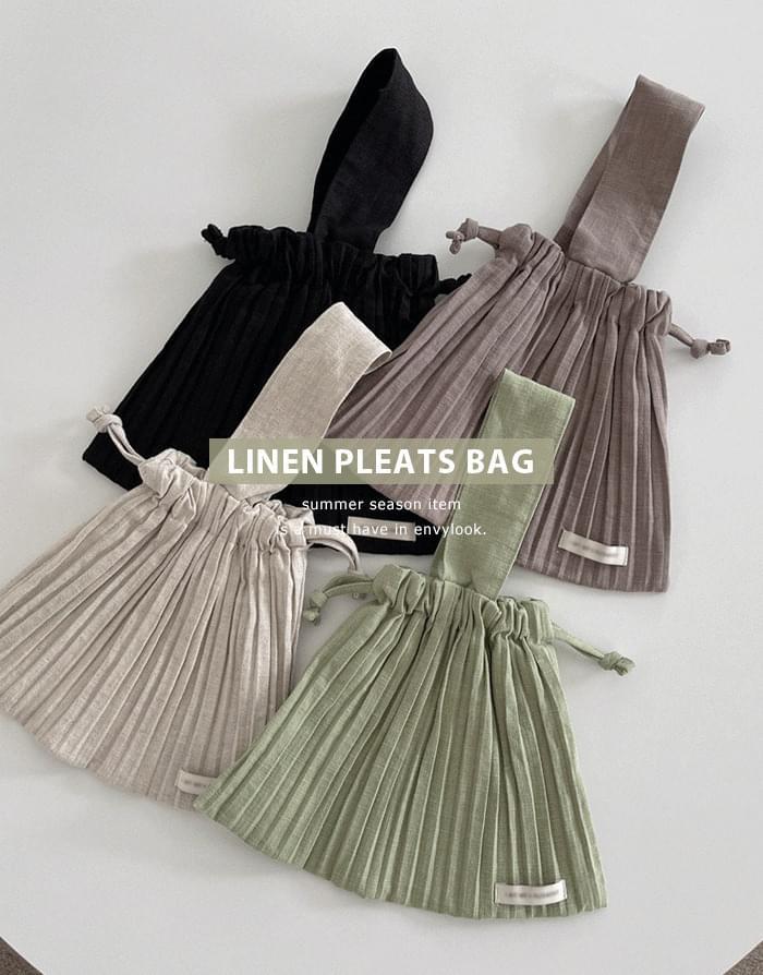 linen pleated mini bag