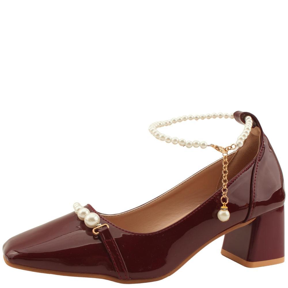 Pearl Ankle Strap Enamel Middle Heel Burgundy