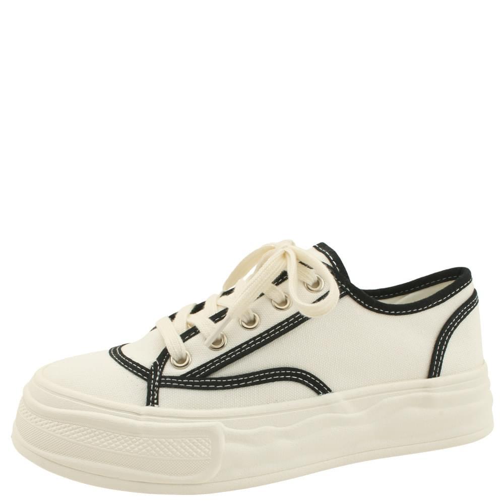 Cotton Canvas Two-tone Sneakers White
