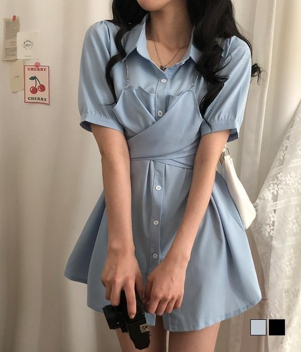Tik Tokker Chain Wrap Bustier Dress
