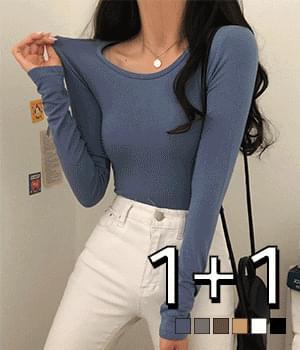 Mochi kong tteok jjang jjoong u-neck long-sleeved t-shirt