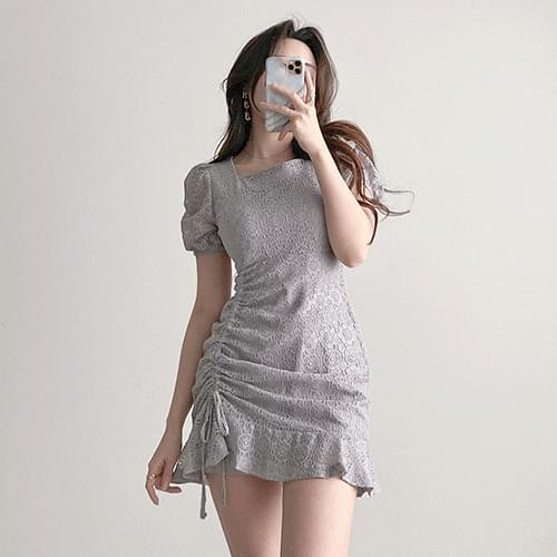Gorgeous Monogray Lovely Shirring Puff Lace Square Neck Dress