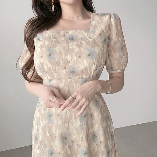 Flower Square Neck Chiffon Long Dress with a Grain Watercolor Pattern