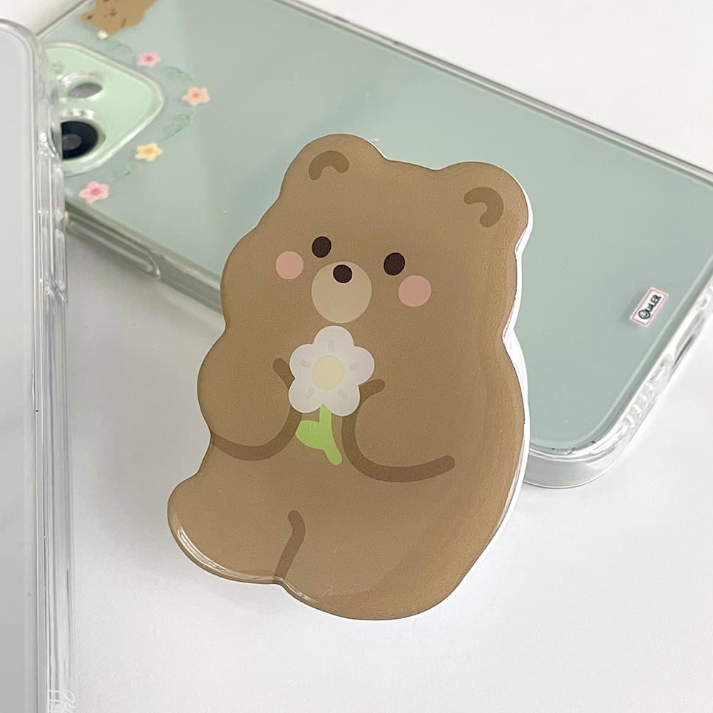 Epoxy Grip Tok in the shape of a bear with flowers