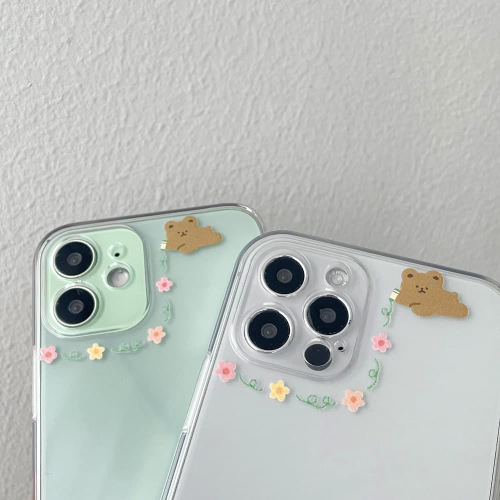 Camera Drawing Flower Bear Teddy Bear Transparent Jelly iPhone Case
