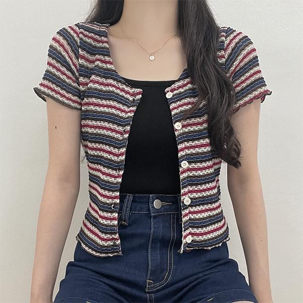 Lush Color Stripe Knitwear Short Sleeve Cardigan