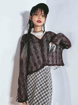 See Through Cord Knitwear Cardigan