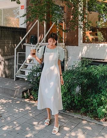 The Season Shoulder Ribbon Long Dress
