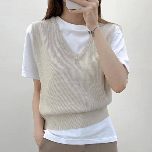 4color Soft Ribbed V-Neck Knitwear Jackets Best T # YW806