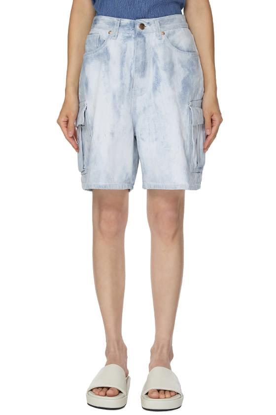 Dying Cargo Denim Shorts