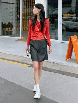 Ruta Backband Pintuck Denim Skirt