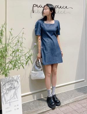 Mod puff shoulder stitch mini Dress