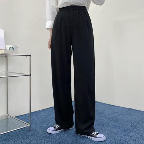 George Button Pintuck Spandex Wide Slacks Pants P#YW653