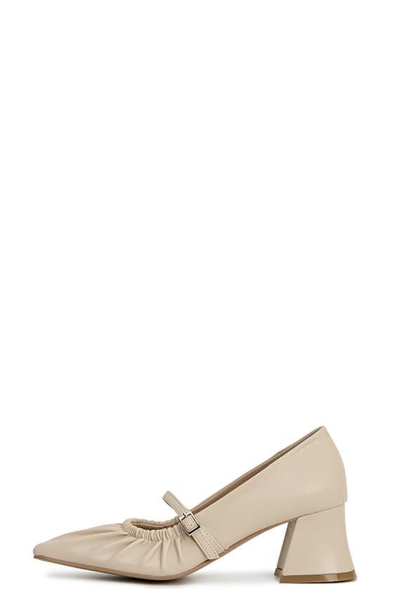 shirring belt mid heel pumps