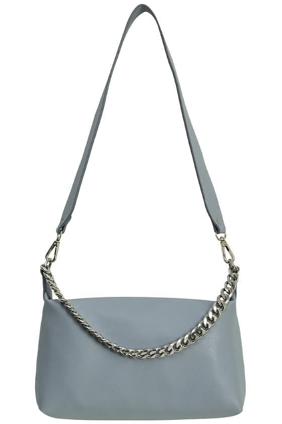 silver chain soft shoulder bag