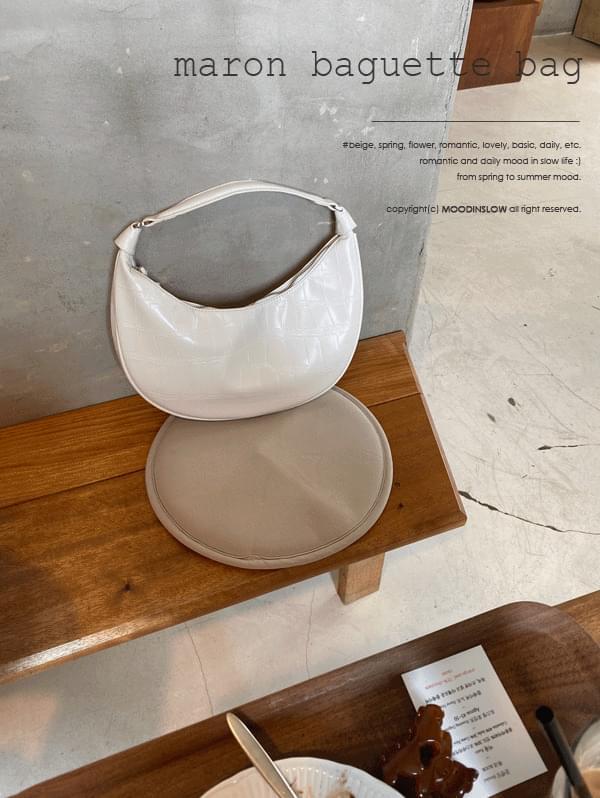 Marlon Leather Baguette Bag - 2color