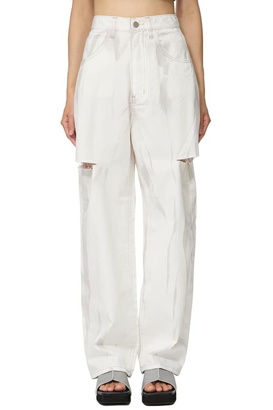 smoked white cut straight jeans