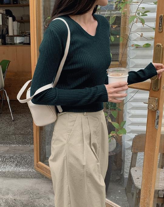 Raseul V-Neck slim Ribbed Knitwear - 6 color