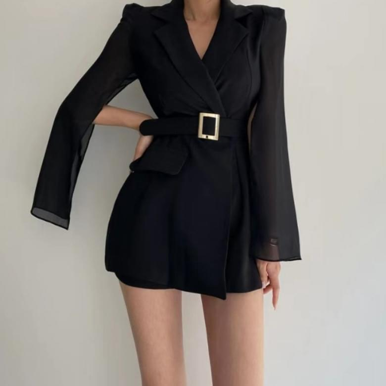 luxury chic cape belted jumpsuit