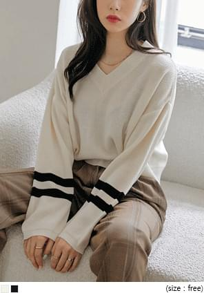 Stripe Accent Cropped Knit Top