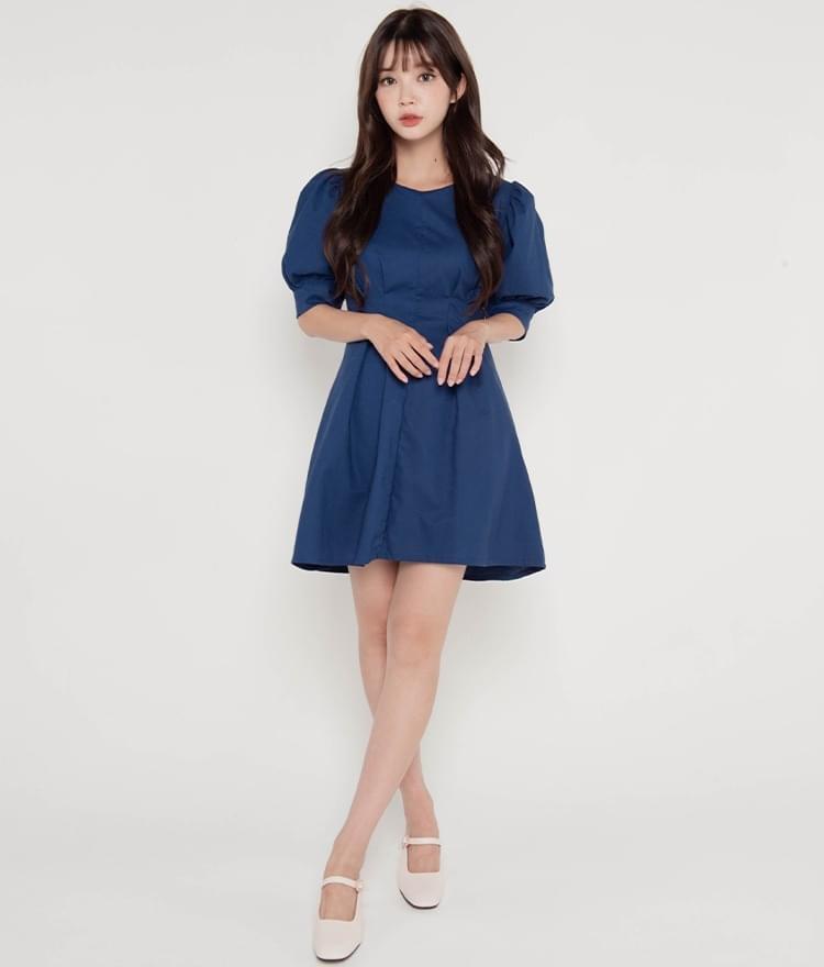 Dart-Tucked Waist Mini Dress