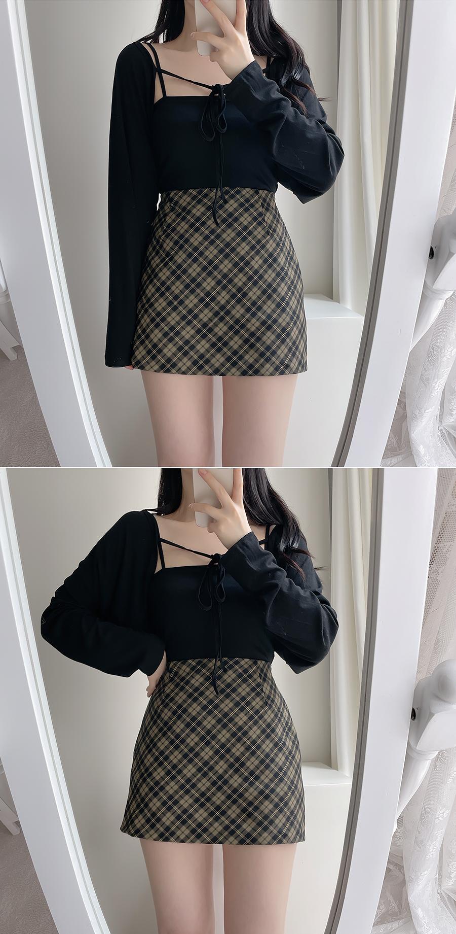 格紋迷你短裙(2色)