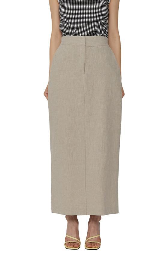 Cation linen long skirt
