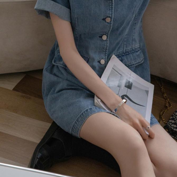 Daily Simple Denim Collar Button Dress