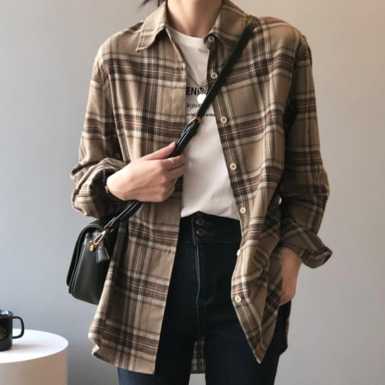 Blande mild cotton-check shirt