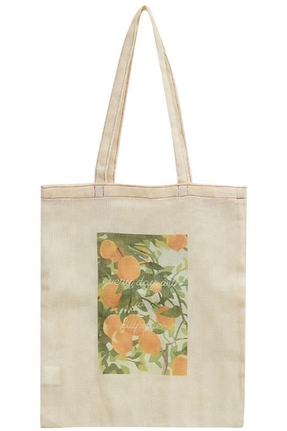 Lemon-print mesh shoulder bag 帆布包