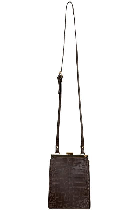 gold rim square shoulder bag