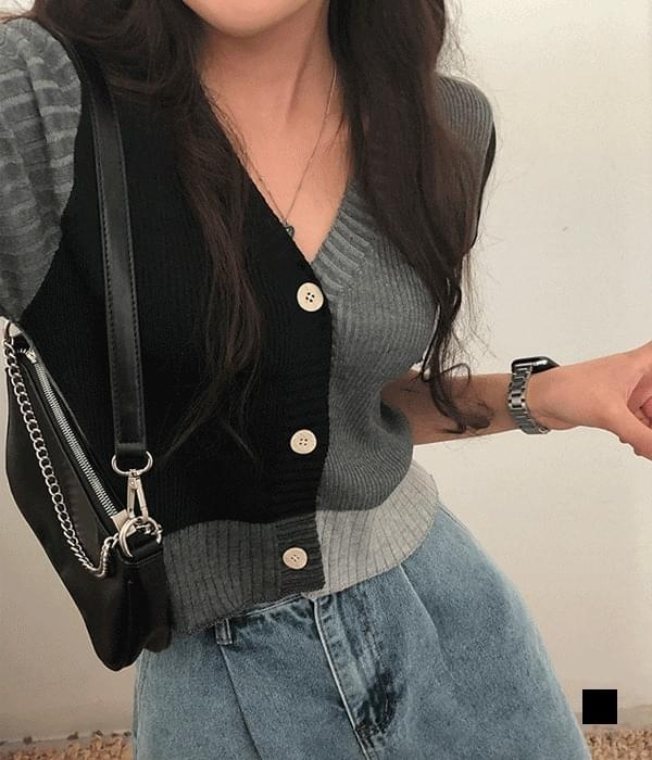Mono color woven cropped short sleeve cardigan (Delayed delivery)