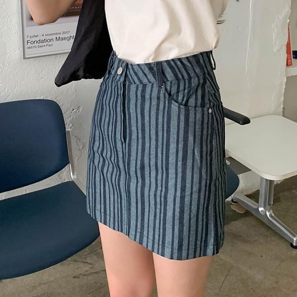 Izuni*Striped Mini Skirt