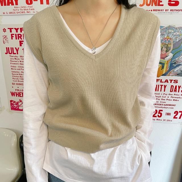 Rota Semi-Crop Knitwear Vest