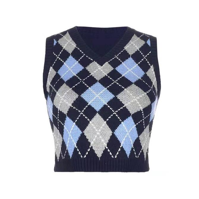 Argyle Pattern Short Knitwear Vest