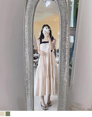 Marle Ribbon Cancan Sleeveless Long Dress