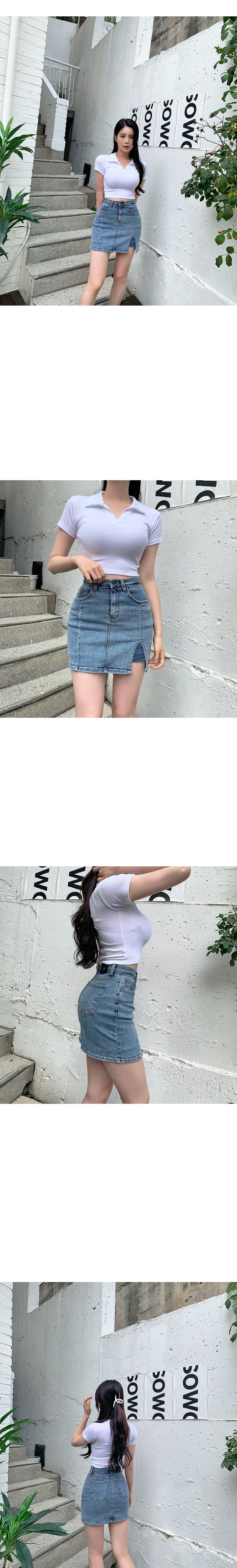 poe collar Ribbed cropped short sleeve T-shirt