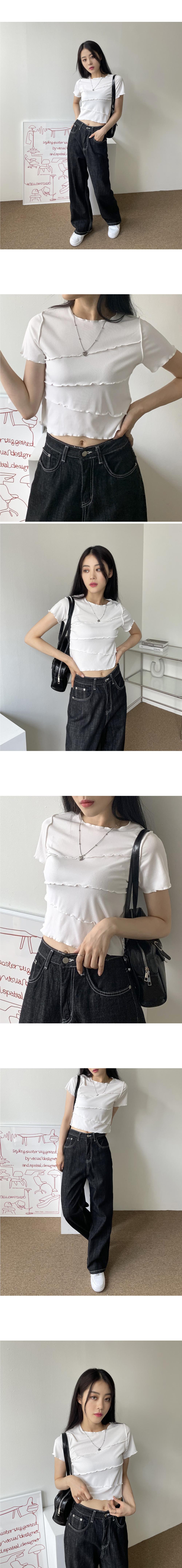 하나비 사선 물결 레이스 골지 크롭 반팔 티셔츠